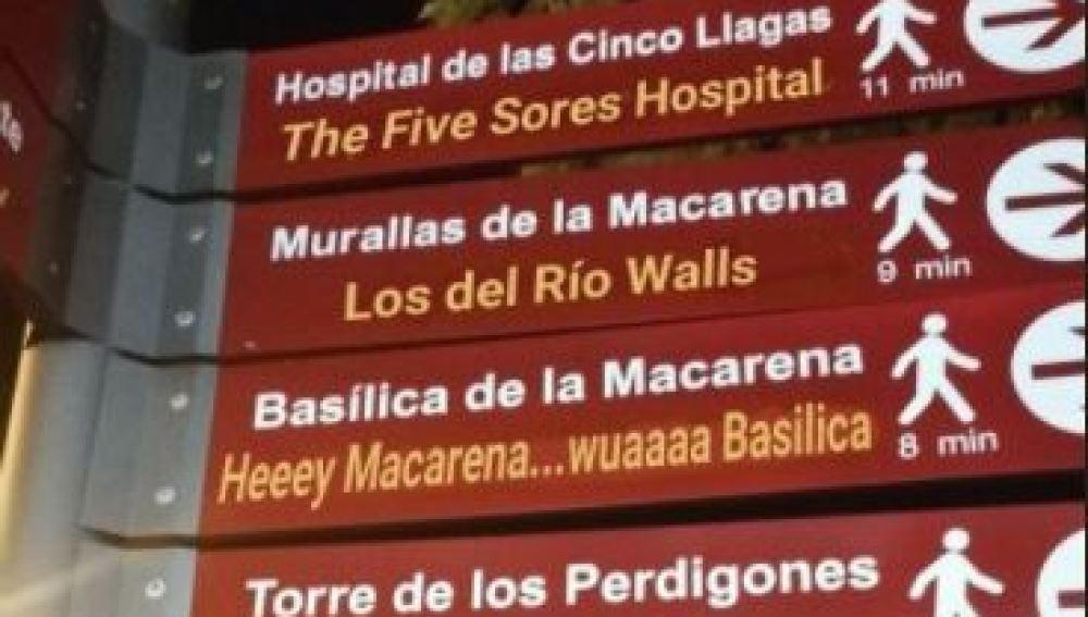 Letrero de Sevilla mal traducido que arrasa en Twitter