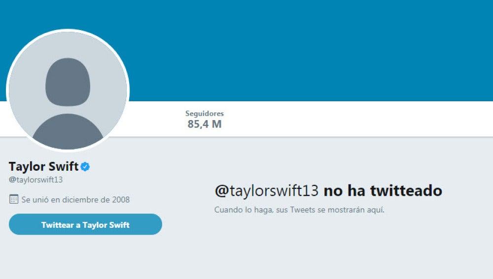 El perfil sin contenido de Taylor Swift