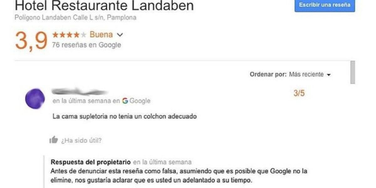 Un usuario de Google se quejó del Hotel Restaurante Landaben antes de que abriese sus puertas al público