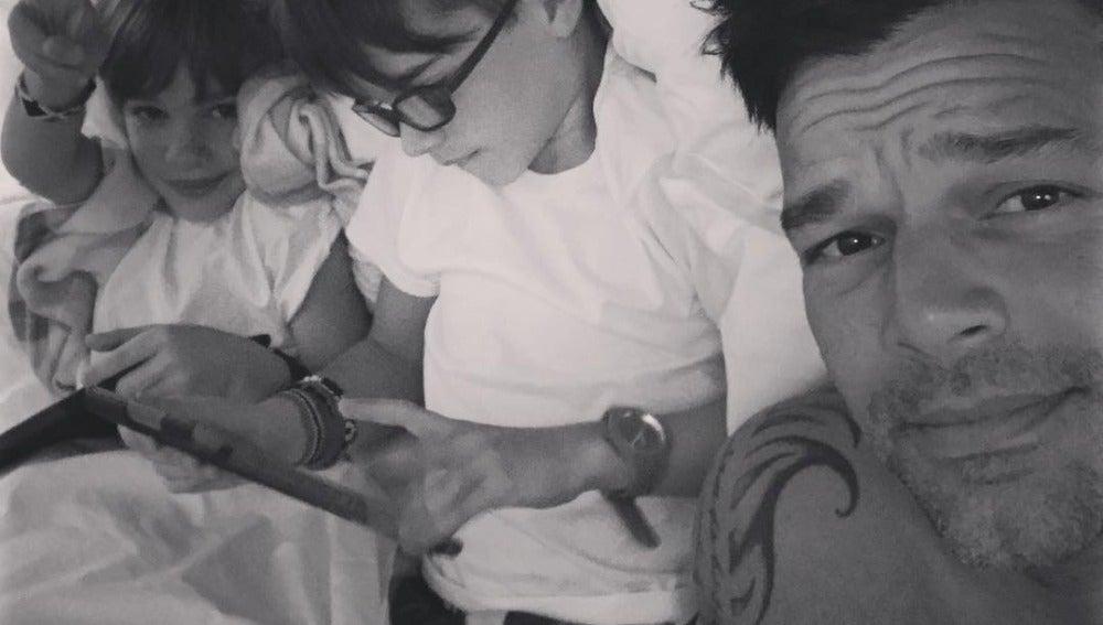 Ricky Martin con Matteo y Valentino, sus dos hijos