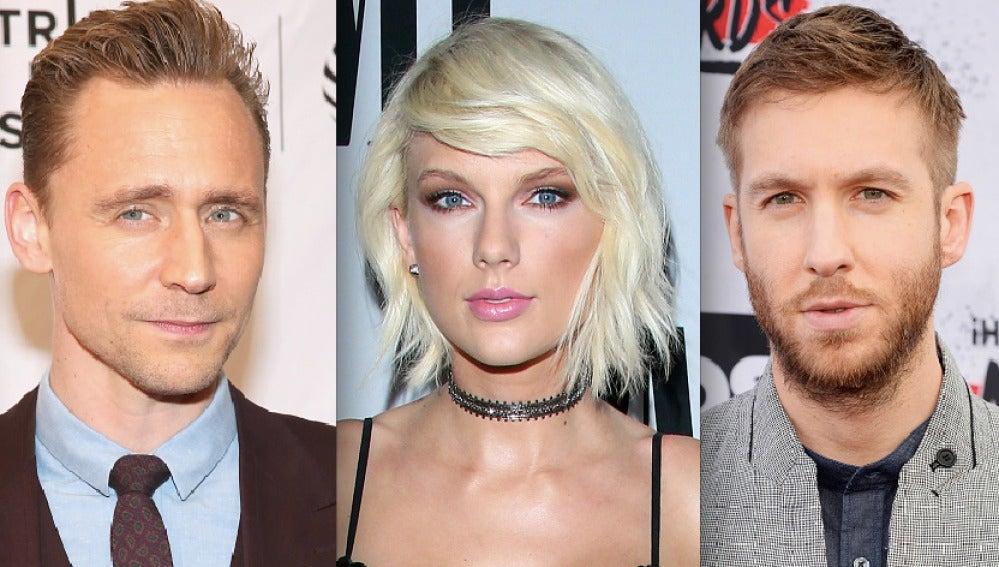 Tom Hiddleston, Taylor Swift y Calvin Harris