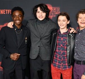 Los actores Caleb McLaughlin, Finn Wolfhard, Noah Schnapp y Gaten Matarazzo en la presentación de la segunda temporada de 'Stranger Things'