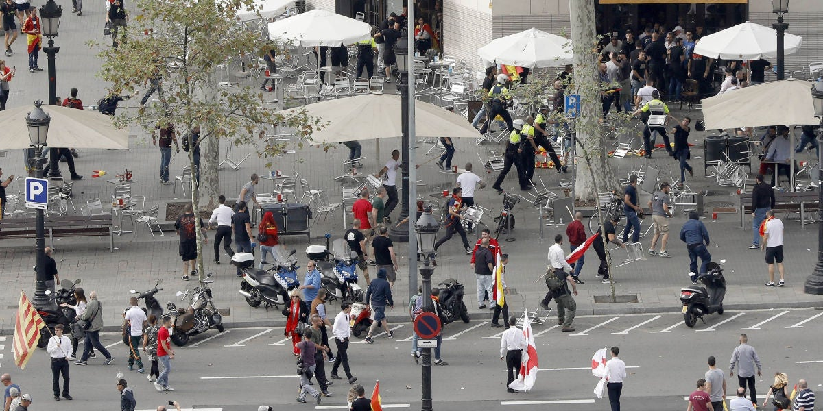 Pelea entre ultras el pasado 12 de octubre en Barcelona