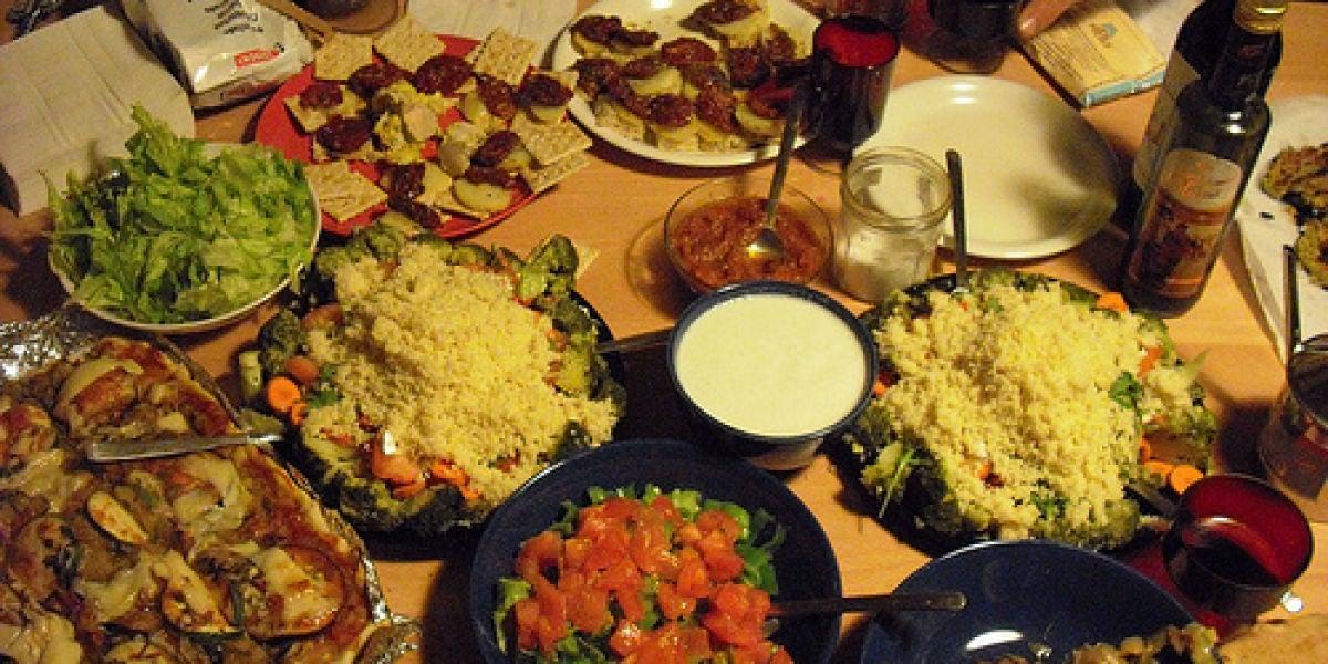 Variedad de platos y comidas en Navidad