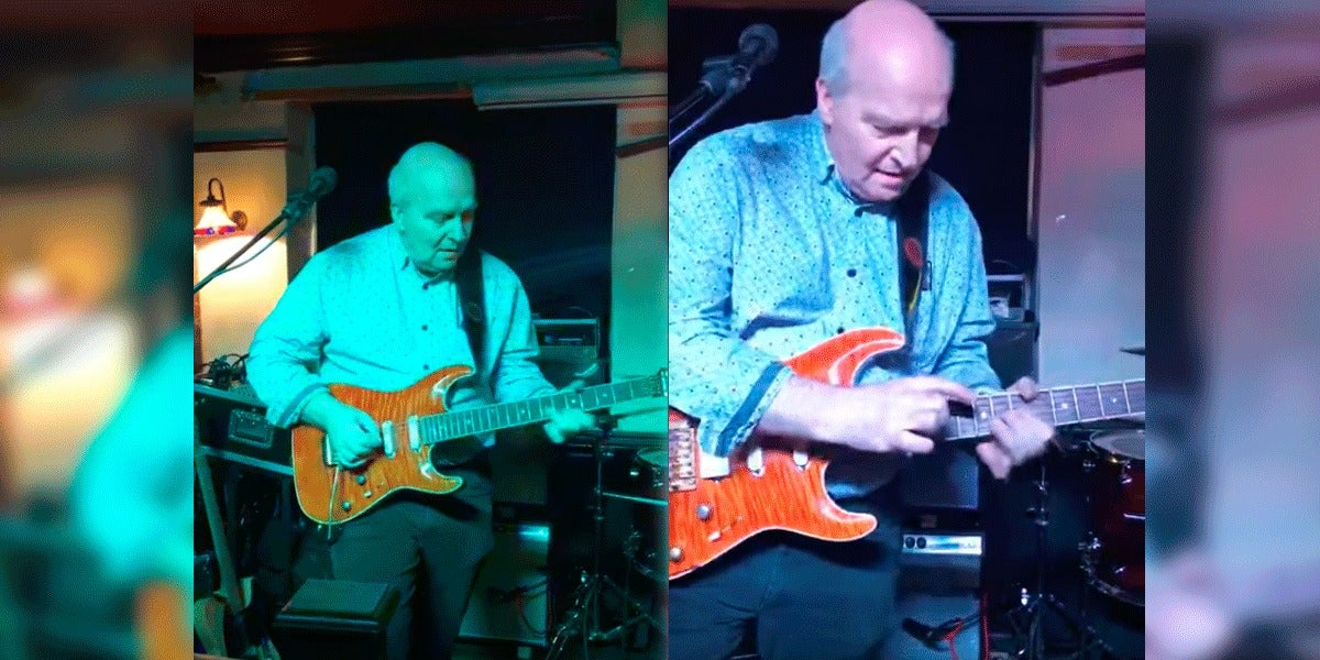 Kenny Petrie tocando la guitarra eléctrica