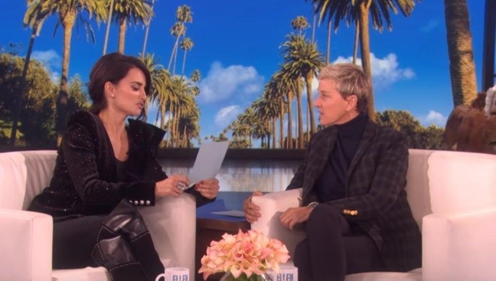 Penélope Cruz en el programa de Ellen DeGeneres