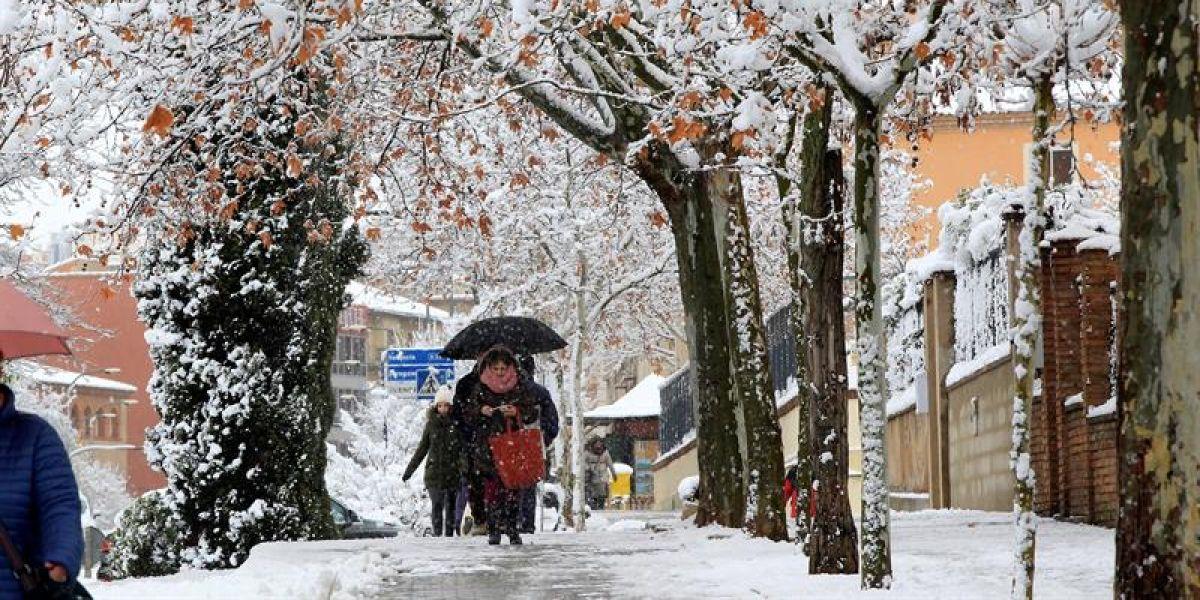Frío y nieve en la ciudad de Teruel