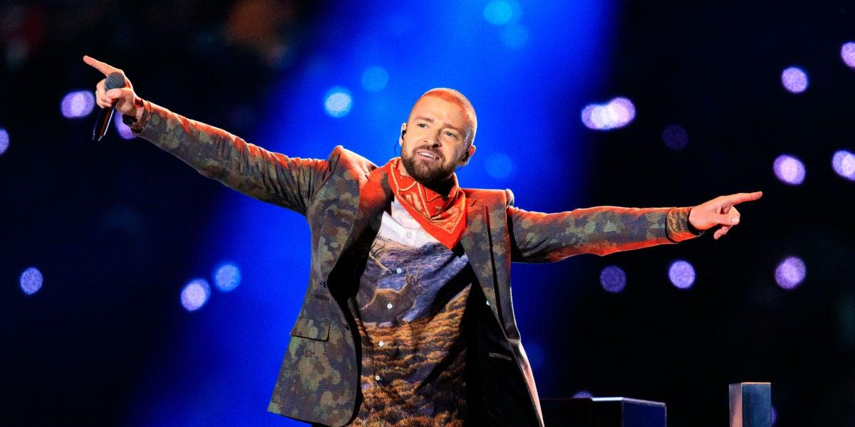 Justin Timberlake durante su actuación en la Super Bowl