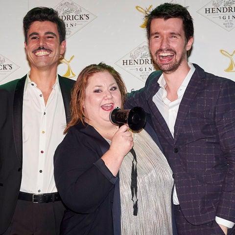 La actriz Itziar Castro, el presentador Luis Fabra y el creador de los Premios Yago, Santi Alverú,