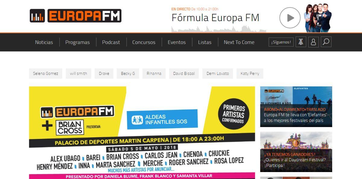 europafm.com, la segunda web musical en febrero