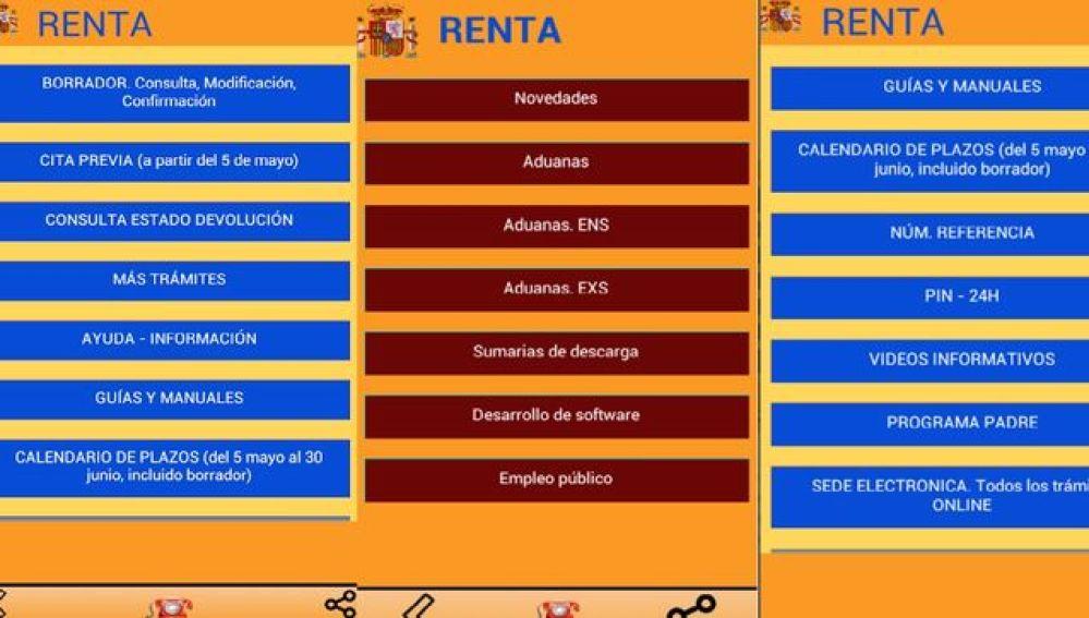 Pantallazos de la aplicación 'RENTA 2018'