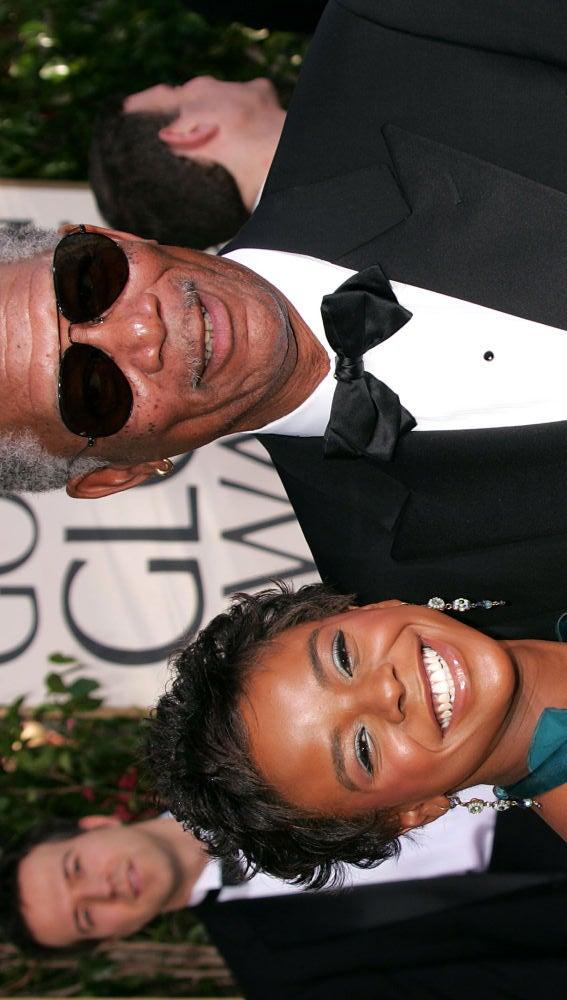 Morgan Freeman con su ahijada E'Dena Hines en Los Globos de Oro
