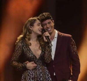 Amaia y Alfred durante su actuación en Eurovisión 2018