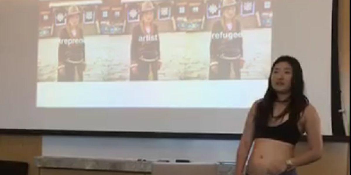Una estudiante se desnuda en la presentación de su tesis