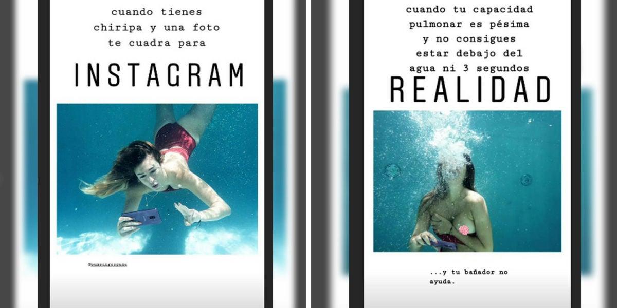 Stories de Blanca Suárez con su foto subacuática