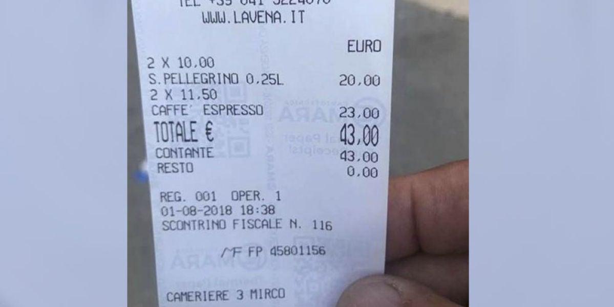 Cuenta de un restaurante de Venecia