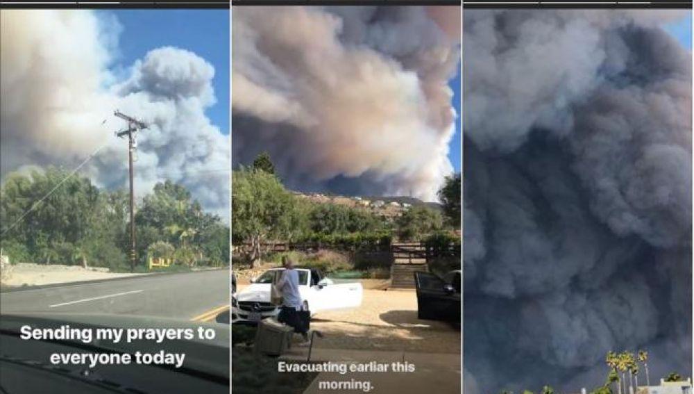 Imágenes del incendio de California en el Instagram de Lady Gaga