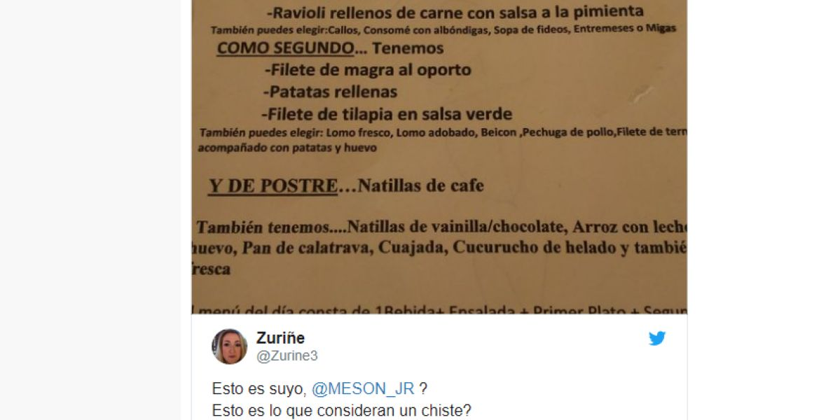 Un restaurante de Cartagena publica un chiste sobre la violación junto a su menú del día