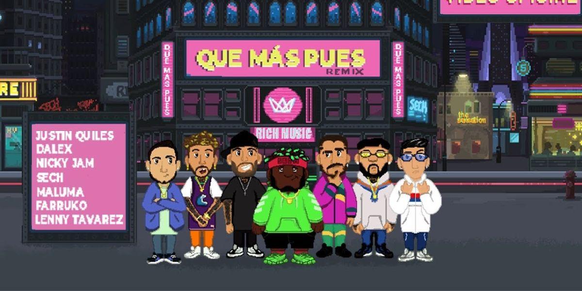 Maluma, Nicky Jam, Farruko, Dalex, Justin Quiles y Lenny Tavárez en el remix de 'Que Más Pues' de Sech