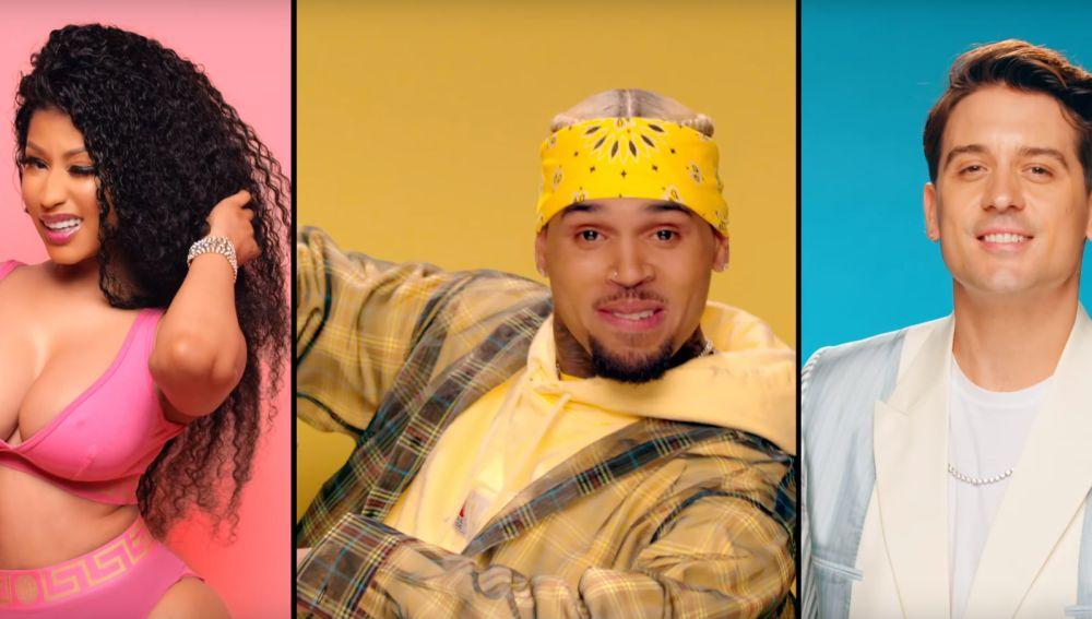Nicki Minaj, Chris Brown y G-Eazy en el vídeo de 'Wobble Up'