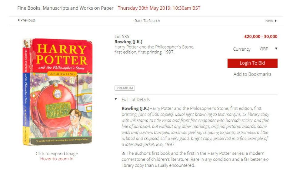 Ejemplar de 'Harry Potter y la Piedra Filosofal' a subasta en Londres
