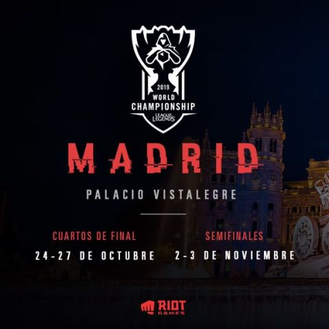 Los cuartos de final y semifinales del Mundial de League of Legends se disputarán en Madrid