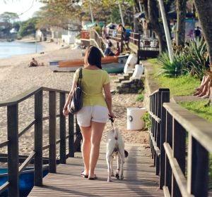 Una chica paseando el perro por la playa