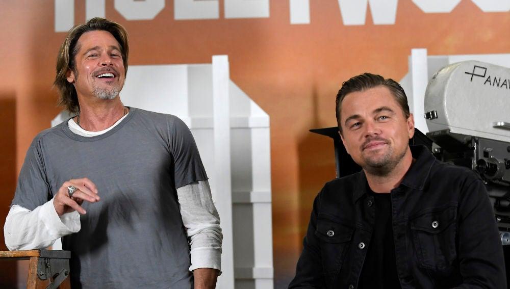 Brad Pitt y Leonardo DiCaprio en la presentación de 'Once Upon A time in Hollywood'
