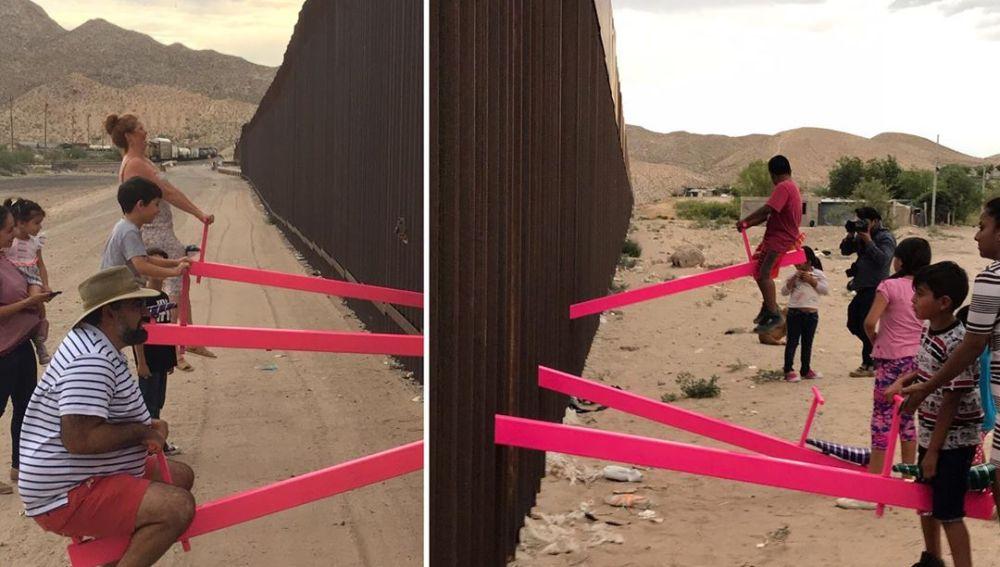 Los dos lados del muro unidos por unos columpios.