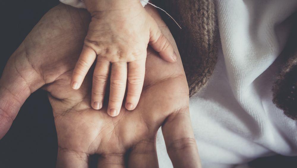 Manos de bebé y adulto