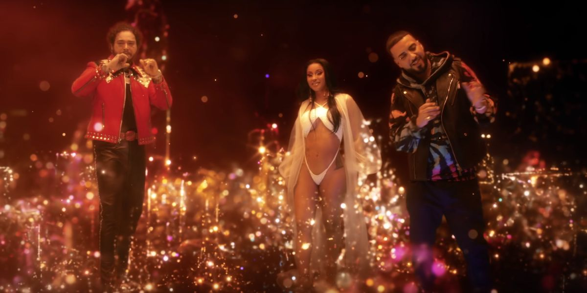 Post Malone, Cardi B y French Montana en el vídeo de 'Writing on the Wall'