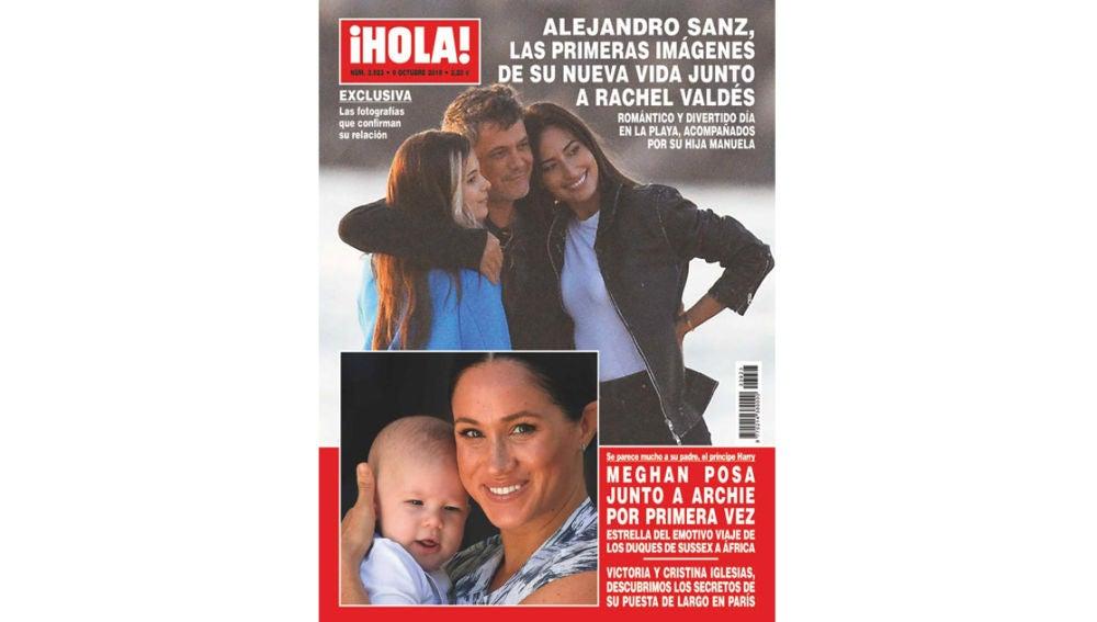 Alejandro Sanz junto a Rachel Valdés y su hija Manuela