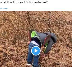 Tuit viral de un niño en un columpio