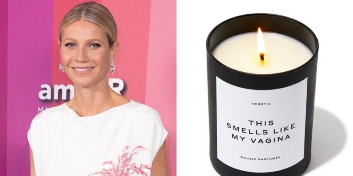 Imagen de la actriz Gwyneth Paltrow a la izquierda y la vela con 'olor a su vagina' que se ha agotado a la derecha