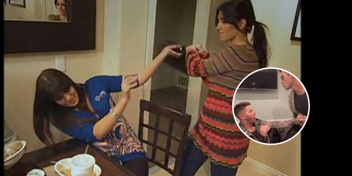 Joe y Nick Jonas parodían la pelea de Kim y Khloe Kardashian