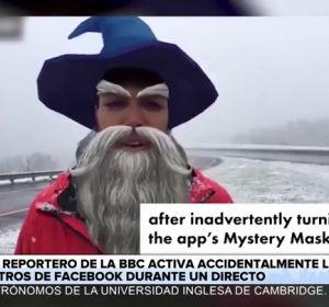 Un error viral: un reportero informa en directo con los filtros de Facebook puestos