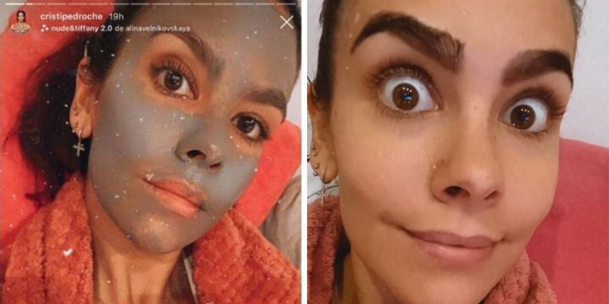 Cristina Pedroche aplicándose una mascarilla y tiñendo sus cejas
