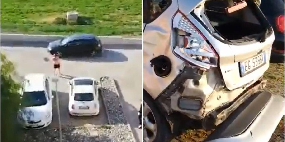 Un runner destroza un coche