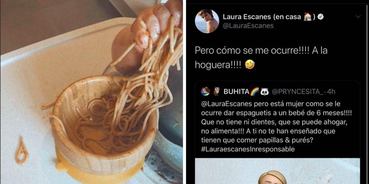 Laura Escanes responde a las críticas por darle espaguetis a su hija