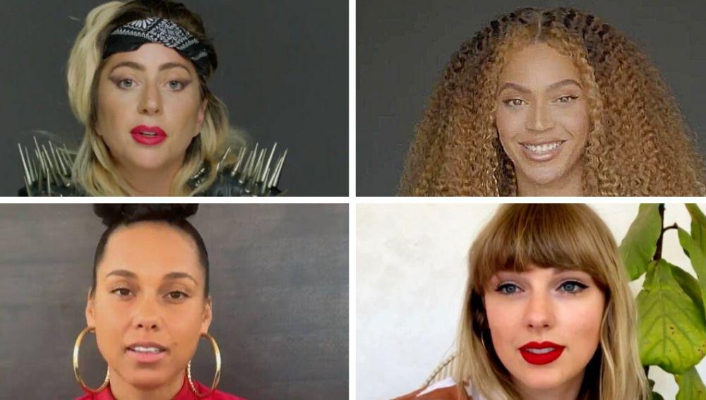 Lady Gaga, Beyoncé, Alicia Keys y Taylor Swift durante sus discursos en Dear Class of 2020
