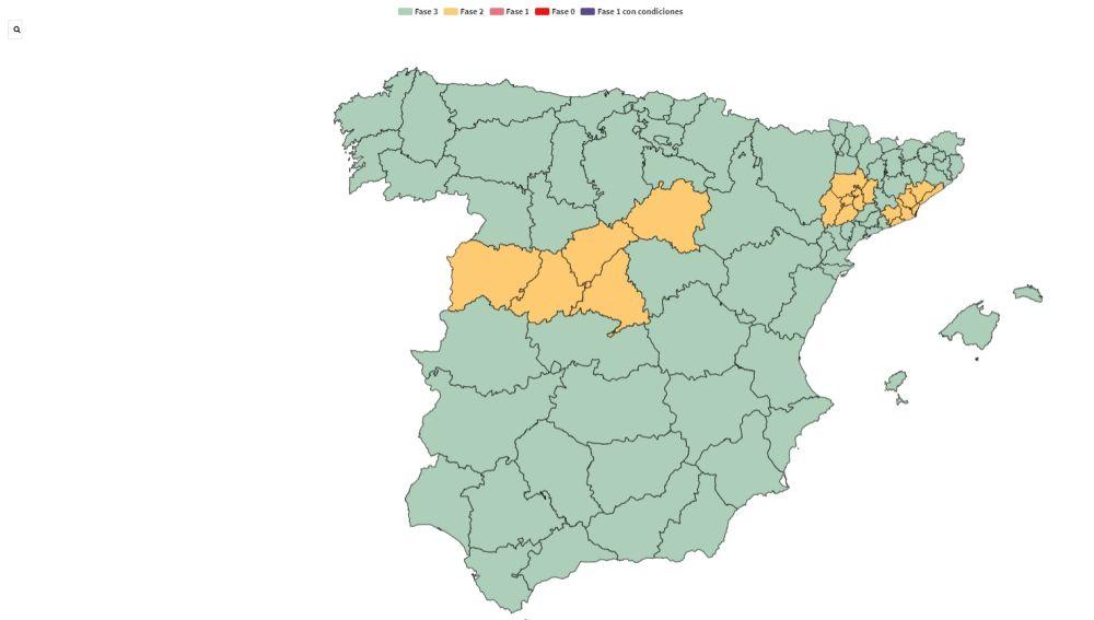 Mapa de la desescalada del coronavirus: comunidades y provincias que pasan de fase
