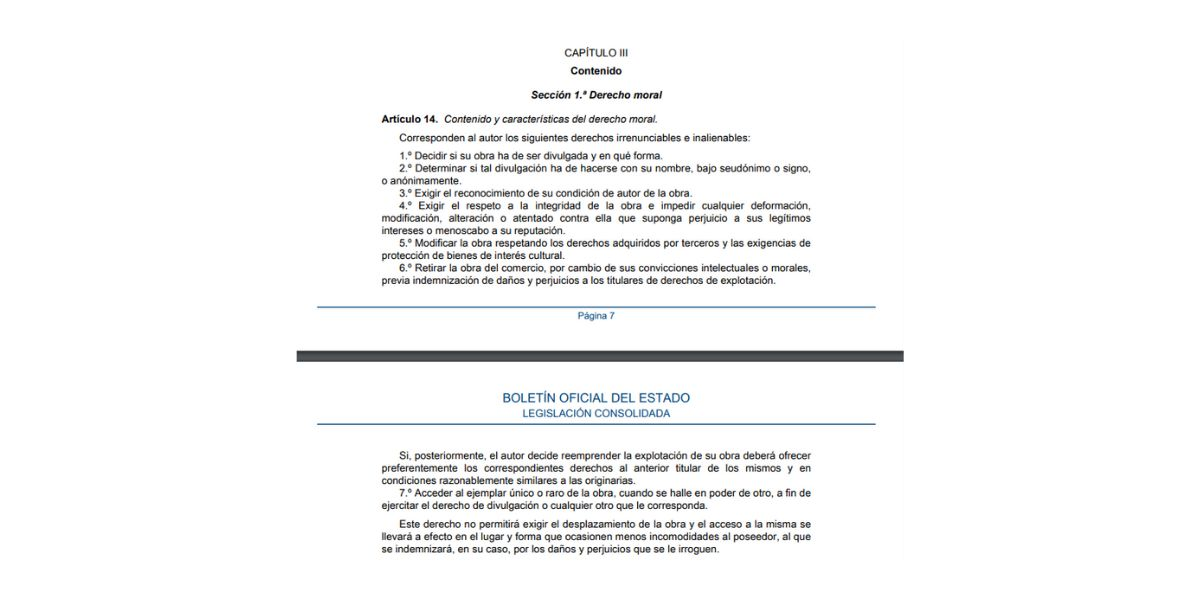 Artículo 14 del BOE sobre los Derechos de Autor