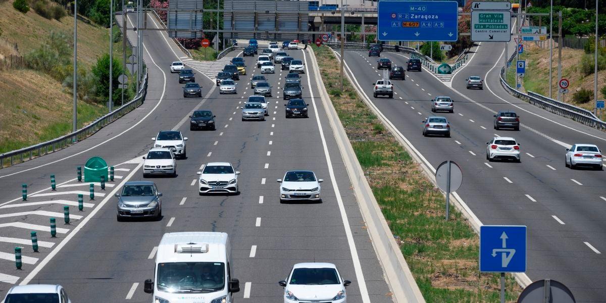 Tráfico este sábado en la M-40, en Madrid, día previo a la entrada en la 'nueva normalidad'