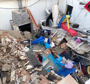 Derrumbe de la terraza en el edificio de Elda.