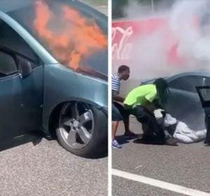 Un hombre salva la vida a otro pocos segundos antes de que su coche se incendie