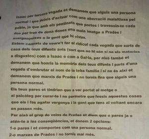 Carta amenazadora a un joven de Prades (Tarragona) por travestirse