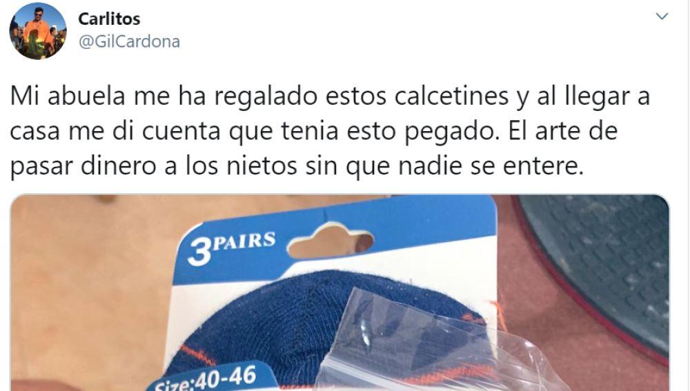 El tuit de un usuario que explica cómo su abuela le ha dado 10 euros a escondidas