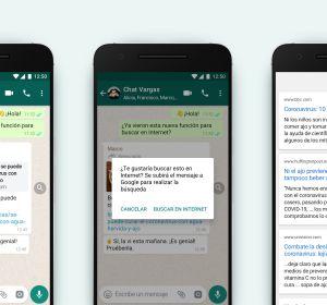 WhatsApp incluye una búsqueda rápida para verificar el contenido de los mensajes reenviados