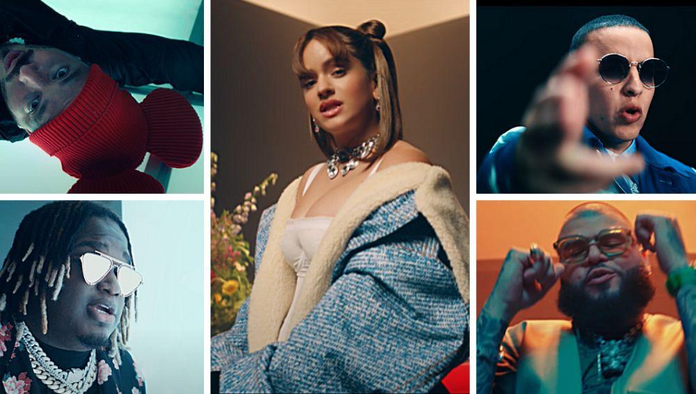 Rosalía, Daddy Yankee, J Balvin, Farruko y Sech en el vídeo de 'Relación Remix'