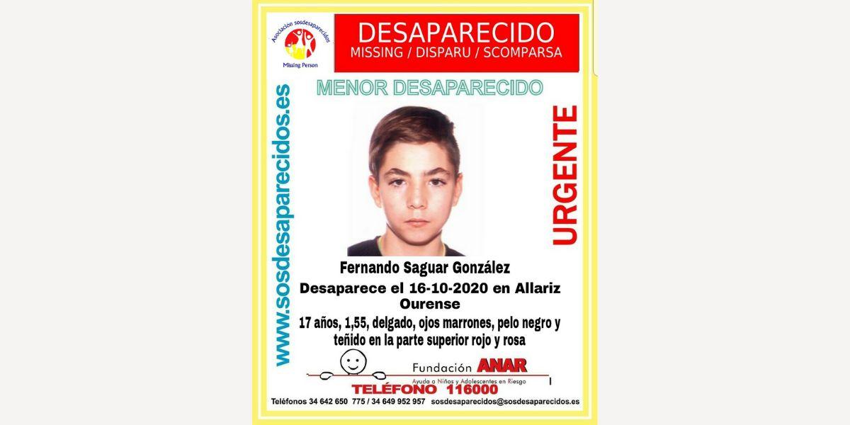 Menor desaparecido en Ourense